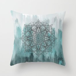 Blue Abstract Mandala Throw Pillow