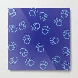 Blue Paw Print Pattern Metal Print