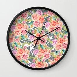 Blush pink orange lilac watercolor roses berries pattern Wall Clock