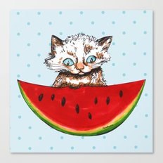 Cat and watermelon Canvas Print