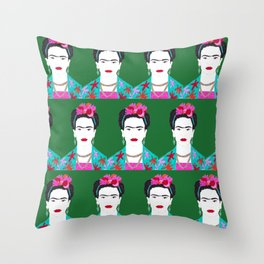Flowers and Frida Throw Pillow