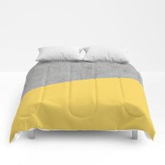 Concrete and primrose yellow color Comforters