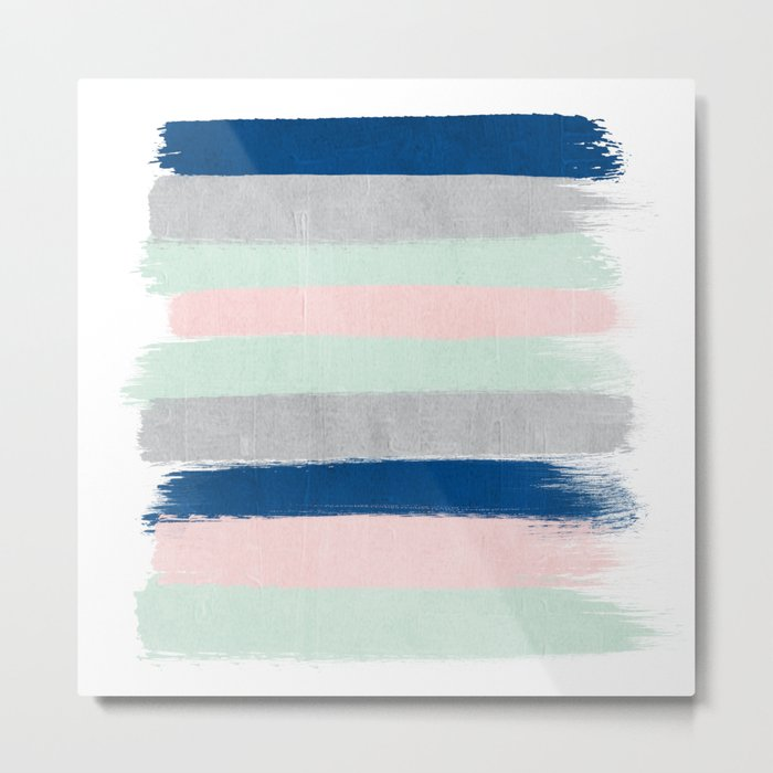Minimal painted stripe pattern nursery decor trendy gender neutral colors Metal Print