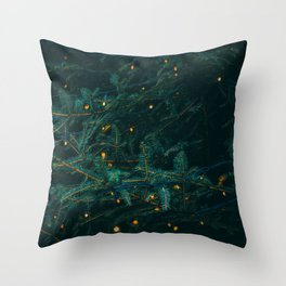 Evergreen and Golden Lights (Color) Throw Pillow