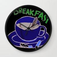 breakfast Wall Clocks featuring BREAKFAST by Gianluca Floris