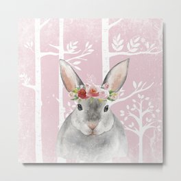 Animals in Forest - The little Bunny Metal Print