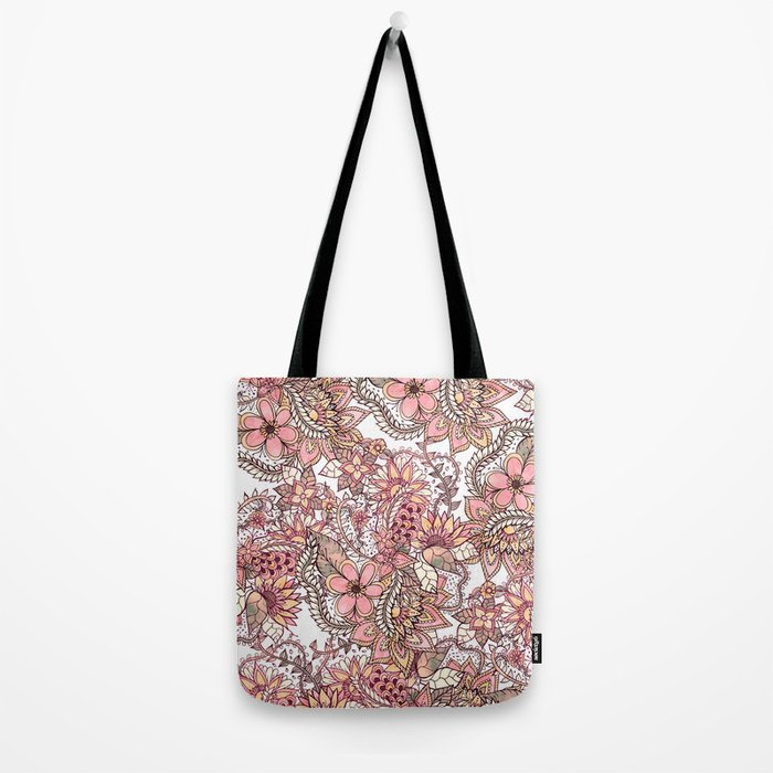 Boho chic red brown floral hand drawn pattern Tote Bag