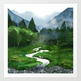 Forest River Illustration  Art Print