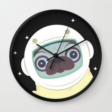 Pug in Space Wall Clock
