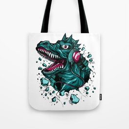 Dino with Headphones Green Cyprus Tote Bag