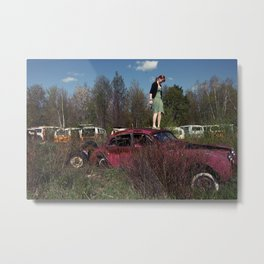car in the bus graveyard Metal Print