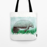 manatee Tote Bags featuring The Manatee ~ Watercolor by Amber Marine by Amber Marine