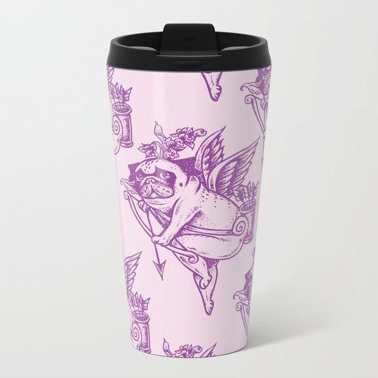 Stupid Pug Cupid Metal Travel Mug
