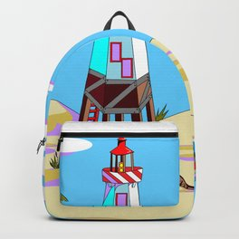 A Lighthouse on the Lazy, Sunny Beach with Palm Trees Backpack