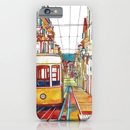 Coloring book Southern Europe Cities: Lisbon colored iPhone Case