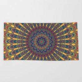 Bohemian oval mandala Beach Towel