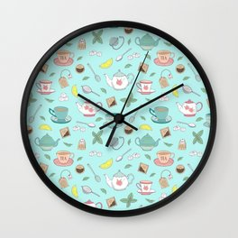 Vintage Pastel Teacups Tea Party Pattern Wall Clock
