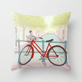 Amsterdam Canal Bike Throw Pillow