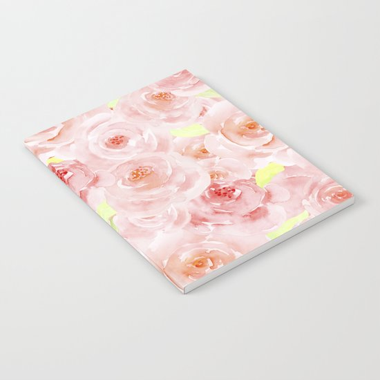 Rose pattern- Beautiful watercolor roses backround Notebook