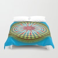health Duvet Covers featuring Health Mandala - מנדלה בריאות by dotan yiloz