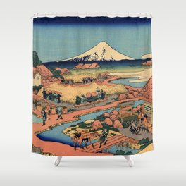 Hokusai -36 views of the Fuji 44-The Tea plantation of Katakura in the Suruga province Shower Curtain
