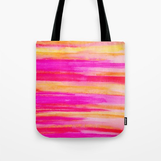 Welcome to Funky Town - Disco Inferno Dance Party Bold Rainbow Stripes Abstract Watercolor Painting Tote Bag