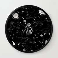 alchemy Wall Clocks featuring Spiritual Alchemy by Deborah Panesar Illustration