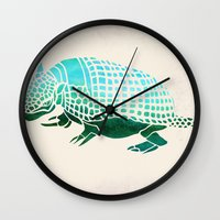 reassurance Wall Clocks featuring Watercolor Armadillo by Jacqueline Maldonado