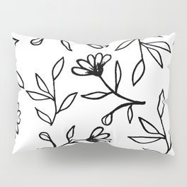 Black and White Botanical Pattern Pillow Sham
