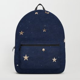 Good night - Leaf Gold Stars on Dark Blue Background Backpack