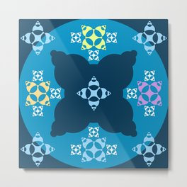 018 Abstract dark blue, cyan and white art for home decoration Metal Print