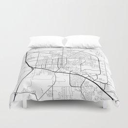 Denton Map, USA - Black and White Duvet Cover