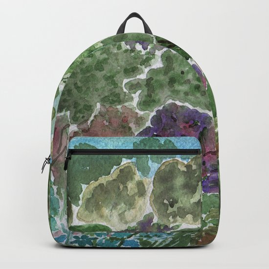 House in the garden . watercolor . Backpack