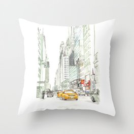 New York City Taxi Throw Pillow