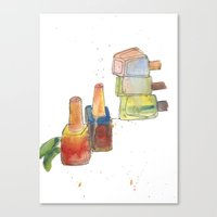 nail polish Canvas Prints featuring Nail Polish by Alia