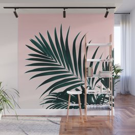 Modern tropical palm tree photography pastel pink ombre gradient Wall Mural