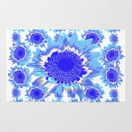 Decorative Delf Blue Tiles Abstracted Floral Art Rug