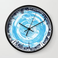 cities Wall Clocks featuring Paronamic NZ by MARIA BOZINA - PRINT
