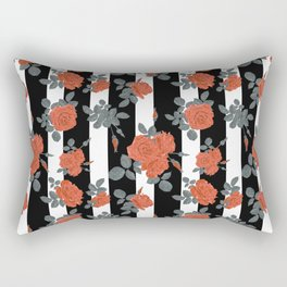 Orange roses on a striped background. Rectangular Pillow
