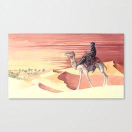 Watercolor of Tuareg riding a camel in the Sahara desert Canvas Print