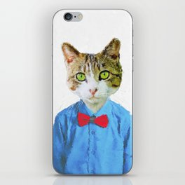 Cute funny cat with blue shirt iPhone Skin