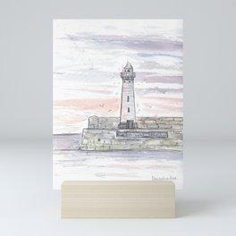 Sunset lighthouse in Donaghadee Mini Art Print