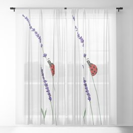red ladybug and purple lavender Sheer Curtain