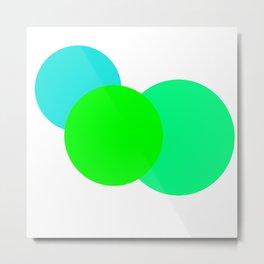 Aqua Green mod circles Metal Print