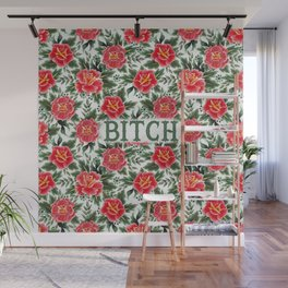 Bitch - Vintage Floral Tattoo Collection Wall Mural