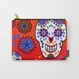 Sugar Skulls in Red  (Calavera) Carry-All Pouch