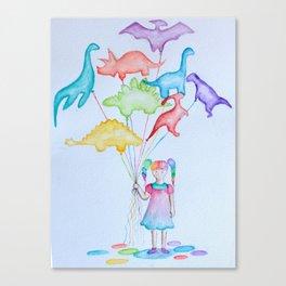 Dino Balloons Canvas Print