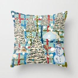 Winter Snowman Throw Pillow