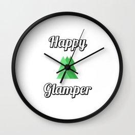 Happy Glamper - trees Wall Clock