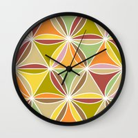 quilt Wall Clocks featuring august quilt by Ariadne